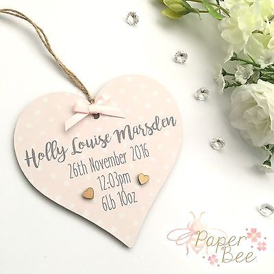 Personalised Baby Birth Announcement Plaque Wooden Heart Star Sign Gift Present