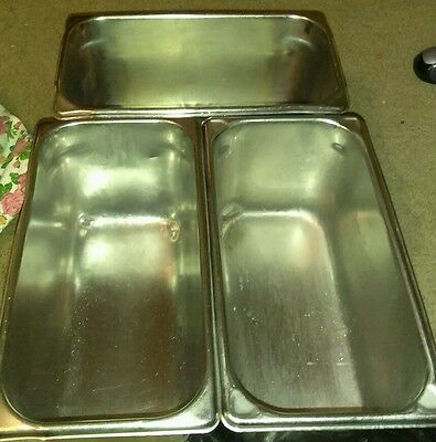 """3 Stainless Steel 1/3 Steam Table Pans NSF Super Pan1. Six Quarts 6"""" Deep"""