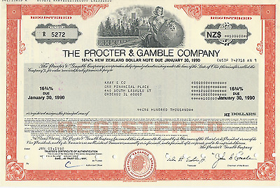 1990 THE PROCTER & GAMBLE COMPANY Stock Certificate NEW Zealand Pays Cancer Bill