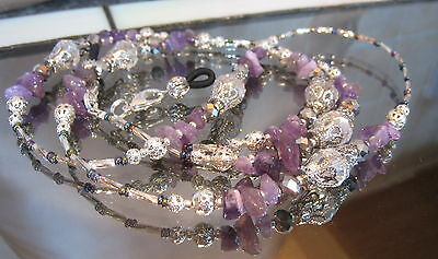 HANDCRAFTED SPECTACLE/SUNGLASSES/EYEWEAR CHAIN - Amethyst & Silver  S358