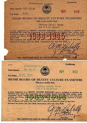 1945 Documents Pertaining to Beautician's License - Miami, FL - African American