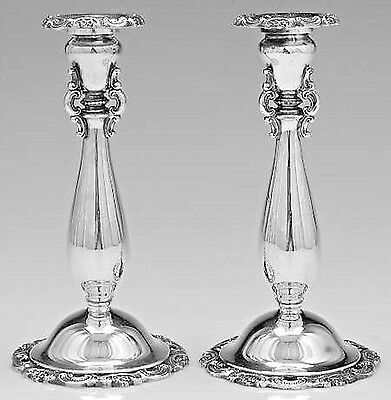 """Wallace Baroque 9"""" Candlesticks Silver-plated Pair"""