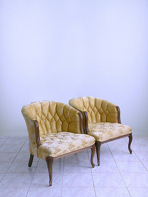 mid century french HOLLYWOOD REGENCY tufted accent tub barrel back club chairs