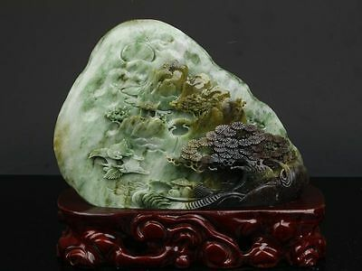 Exquisite Chinese natural Dushan jade hand carved landscape statue
