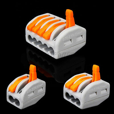 10PCS Building Wire Connector Safe Terminal Block Fast Cable Push in 2P 3P 5P