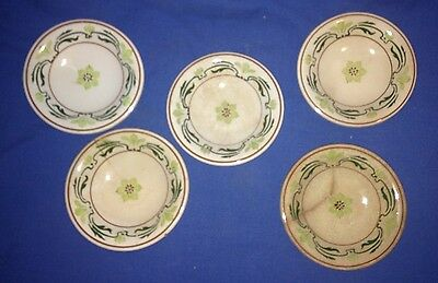 5 Vintage Royal Porcelain Bassett Germany Mini Butter Plates/Pats Flower Design
