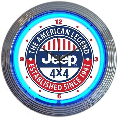 Neon clock sign Jeep Army Green Willys 4x4  licensed willys kaiser JK  TJ 2017