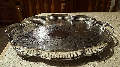 Silver Plated On Copper Tray Serving Tray - Sheffield England