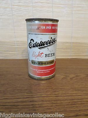 Vintage Edelweiss Light Empty Flat Top Beer Can