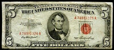 US Currency 1953 $5 Five Dollar United States Note Red Seal FR 1532