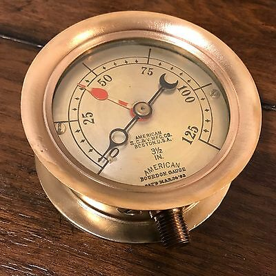"""*ANTIQUE* American Bourdon Gauge Altitude  Water Solid Brass Collectible 4"""" 2of2"""