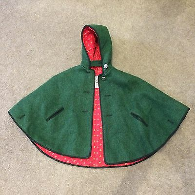 Boos Austrian Vintage cape child's childrens wool hooded cape coat jacket GREEN
