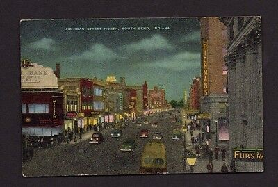 Postcard South Bend IN Michigan Street North At Night *122