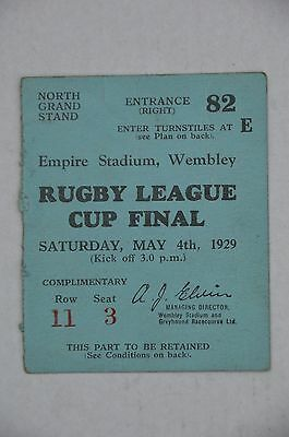 Very Rare 1929 Rugby League Cup Final Ticket
