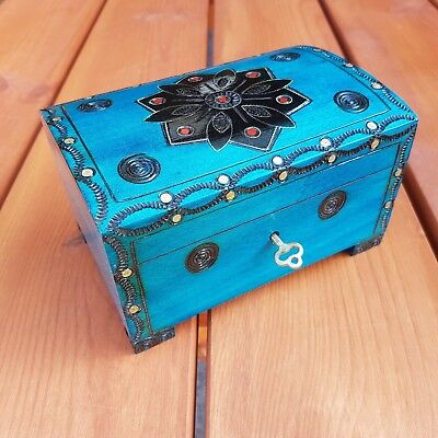 Wooden Jewellery Chest 15 Cm Long Lock And Key In Azure Color