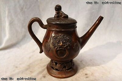 """7""""Chinese Folk Purple Bronze carved eximous Lucky Dragon animal flagon water jug"""