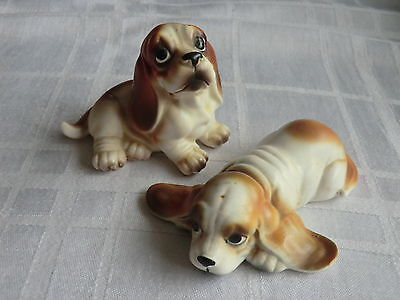 Vintage Pair of Vaga Basset Hound Dog Ornaments ( Fabrique Au Japon)