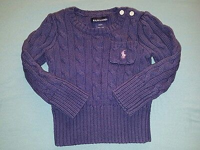 Baby Girls Size 2T Ralph Lauren Polo 100% Cotton Cable Knit Pullover Sweater