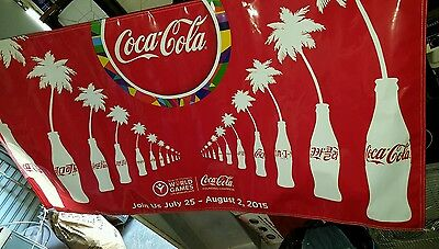 Lot 2015 Special Olympics Coca Cola Banner Sign Coke bottle World Games Rare