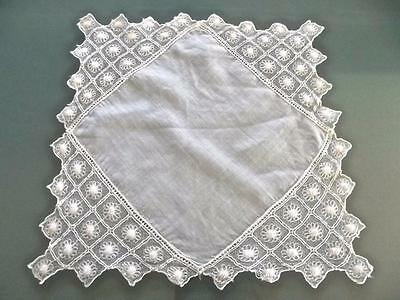 Antique All-White Linen Handkerchief Airy Embroidered Net Lace Wedding Hankie EC