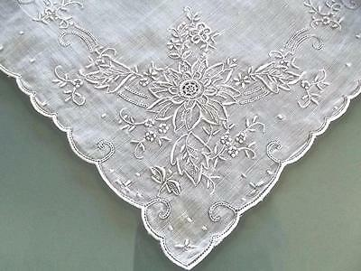 Antique Swiss Embroidered White Handkerchief Lace Inserts Perfect Bridal Hankie