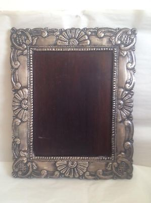 "Antique Silver  9"" x 12"" Vintage Ornate Repousee Picture Photo Frame"