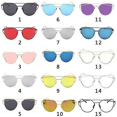 Women's Flat Lens Mirrored Metal Frame Glasses Oversized Cat Eye Sunglasses