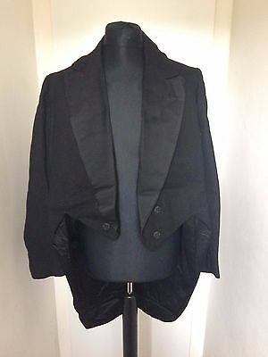 Vintage Traditional 1940's Black Wool Tails Coat 42""