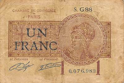 France / Paris 1 Franc  22.7.1922  Series  S. G88  circulated Banknote M9