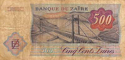 Zaire  500 Zaires 14.10.1985  Series F-C circulated Banknote M9