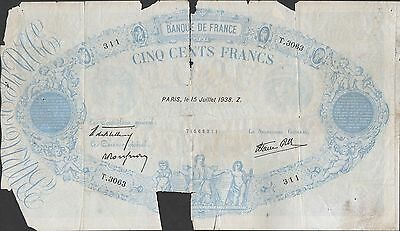 France , 500 Francs , 15.7.1938 , P 88c , Series T. 3063 , Used