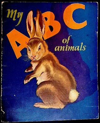 ABC BOOK OF ANIMALS ~ Vintage Children's Linen Nursery Book 6+ Color Plates