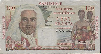 Martinique 100 Francs ND. 1947 P 31a Series W. 46 Circulated Banknote