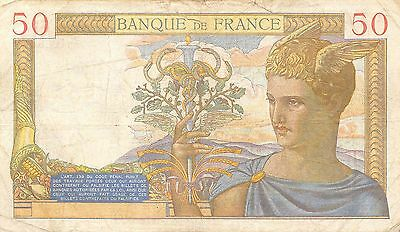 France 50 Francs 10.8.1939 Series Q  circulated Banknote , G. 1C