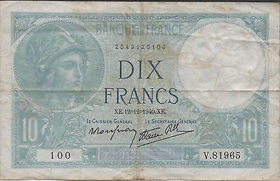 France 10 Francs  12.12.1940  Series V. 81965  Circulated Banknote