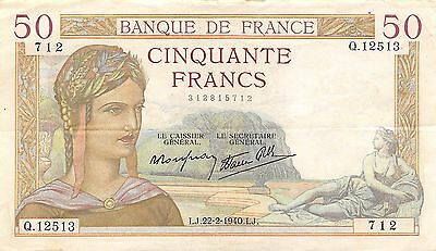 France 50 Francs  22.2.1940 Series Q. circulated Banknote , G E1