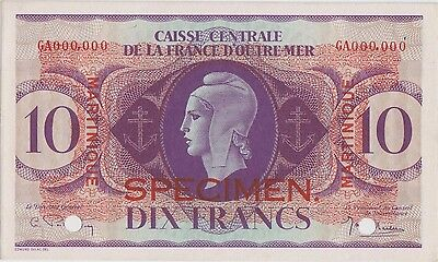 Martinique 10 Francs 2.2.1944 P 23s Specimen Uncirculated Banknote Scarce