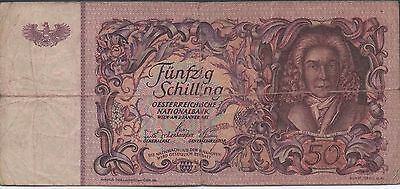 Austria   50/-   2.1.1951  P 130   Circulated Banknote