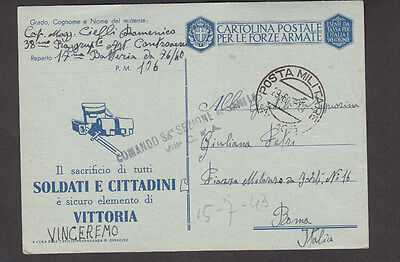 WW2 official postcard Italy propaganda postmarks   1943 soldier letter