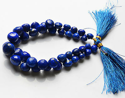 "187.cts 7 5"" INTENSE BLUE FACETED LAPIS LAZULI ONION SHAPE BEADS 7 TO 10.5 MM"