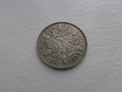 1933 George V Silver Sixpence Coin