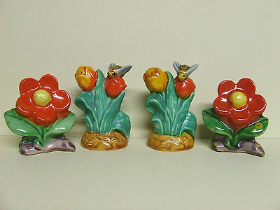 Vintage Flowers and Bees Salt & Pepper Shakers (Japan)