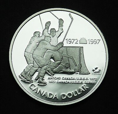 1997 Canadian silver $1 coin that commemorates Paul Henderson's goal in 1972