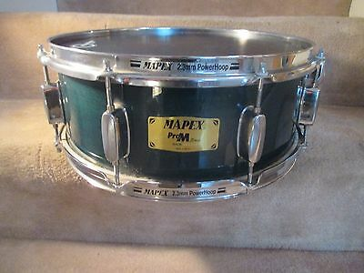 Mapex Pro M Maple Shell Snare Drum, 14 x 5, Emerald Lacquer, Very Clean Drum!