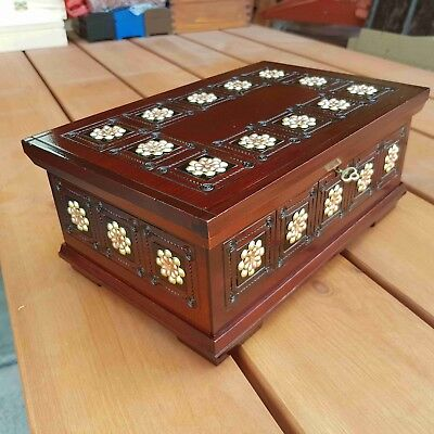 Wooden Jewellery Carved Box In Brown Color 28Cm Lock And Key