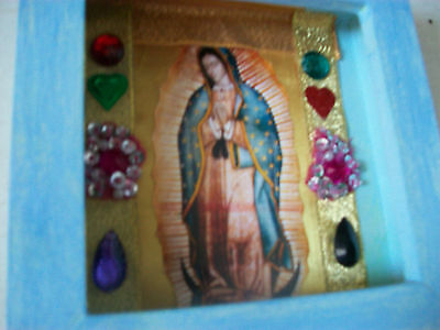 Virgin of Guadalupe wooden shrine box vintage Mexican style shrine