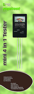 4 WAY SOIL LAWN FLOWER GARDEN PLANT TEST TESTER pH NPK LIGHT MOISTURE METER