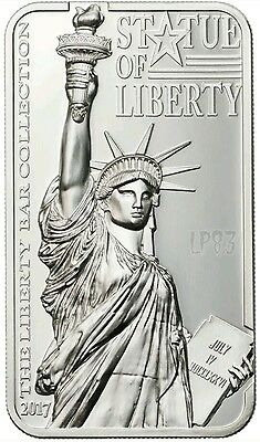 2017 2 Oz Silver STATUE OF LIBERTY Liberty Bar Shaped Coin 10$ Cook Islands.