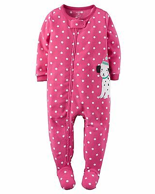 New CARTER'S Girls PUPPY Footed Fleece Sleeper Size 2T 3T Pajamas Toddler Pink