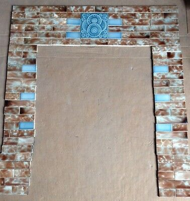 COMPLETE SET VINTAGE VICTORIAN ANTIQUE FIREPLACE TILE MANTLE TILES Art Nouveau